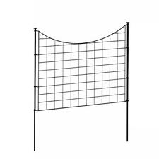 2.08 Ft. H X 2.46 Ft W Zippity Black Metal Garden Fence Panel With Stakes (5