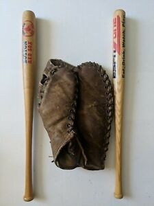 Vintage Antique Baseball Collectible Lot, 1st Baseman Glove And Two Bats