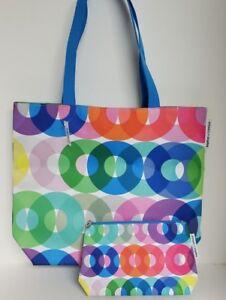 Clinque Large Kapitza Multi Color Discs Tote Handbag and Cosmetic Case 2 PC NWT