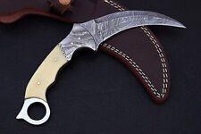 Bone Handle Hawkbill Karambit 8.2'' Fixed Blade Damascus Steel Hunting Knife