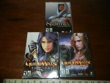 3 PC Computer Video Games Lot Guild Wars Factions Nightfall Eye Of The North
