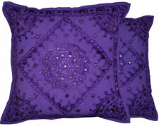 2pc Purple Boho Throw Pillow Handmade Indian Mirror Work Pillow Bohemian Pillows