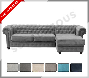 CHESTERFIELD IMPERIAL Corner Sofa Right or Left Hand Fabric Grey Navy Blue Cream
