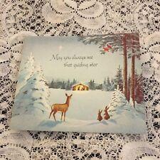 Vintage Greeting Card Christmas Manger Deer Bunny Snow