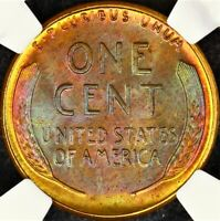 Toned NGC MS66 RB 1956 P Lincoln Wheat Cent 1c Mint Set Rainbow Color PQ