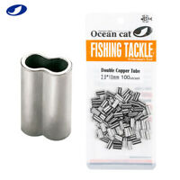 OCEAN CAT Double Barrel Crimp Sleeves 100% Copper Tube Fishing Leader Connector