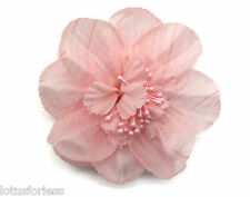 Open Flower Fascinator Hair Clip Grip Pink Peach Bridesmaid Prom Crinkle Satin