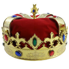 Kings Crown Mens Royalty Costume Royal Plush Hat Jewel Red Fancy Dress King S
