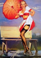 Gil Elvgren Original Painting Pin-Up Lingerie Stockings Pinup UpSkirt VANCAS