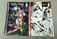 2x BETTIE PAGE 1; JETPACK COMICS FORBIDDEN PLANET JIM BLANET EXCL B&W RARE*