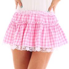Pink L Unisex Men Women Lace Plaid Mini Skirt Flared Pleated A-Line Short Dress