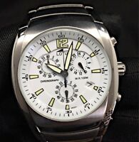 Lotus Steel 9922 Chrono Cronograph calendar watch reloj NOS nuevo 38 mm white