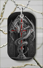 CELTIC DRAGON AND CROSS DOG TAG PENDANT NECKLACE FREE CHAIN -dhn7Z