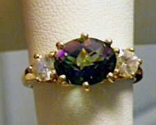 MYSTIC TOPAZ WHITE TOPAZ RING 14K Yellow Gold Size 7