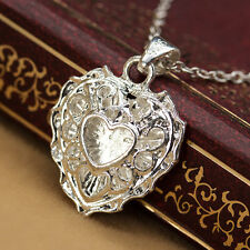 925 Silver Hollow Heart Necklace Chain Apple Pendant Jewelry Charm Gift