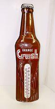 Vintage Orange Crush Soda Pop Bottle Thermometer Tin Advertising Sign Drugstore