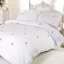ALICIA FLORAL WHITE / PINK DOUBLE DUVET COVER SET EMBROIDERED BEDDING