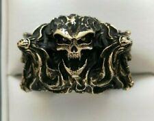 14k Yellow Gold Skull & Priestess Men's Ring 20g Size 7.5