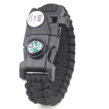 Outdoor Survival Paracord Bracelet LED Flint Fire Starter Compass Whistle Rope