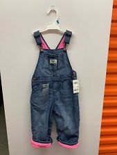 OshKosh B'gosh 24m Girls Overalls Pink Lined New With Tags