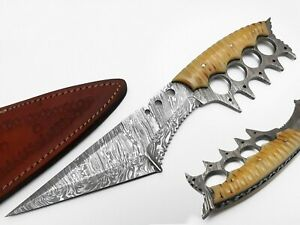 """12"""" ESHAAL CUTLERY Hand Made Damascus Steel Hunting Knife With Leather Sheath"""