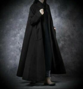 New Zanzea Black Jersey Gothic Long Maxi Coatigan Cardigan Coat size 5XL 26 28