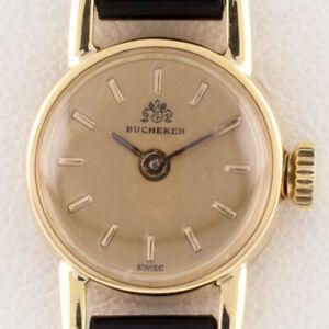 Bucherer 18k Yellow Gold Hand-Winding Women's Watch w/ Leather Band