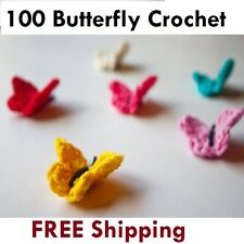 100 x 3.5cm Coloured Crochet Butterfly Various Mixed Colours