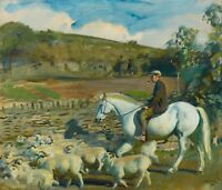 1935- Sir Alfred Munnings, Exmoor Farmer, Sheep, Horses, antique Art Print