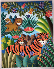 Animal Nature Tigers Oil Framed Painting on Canvas By Pierre Maxo 24x30