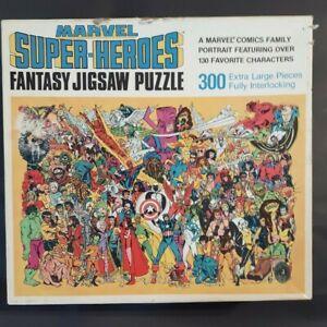 MARVEL SUPER HEROES Fantasy Jigsaw Puzzle 300-Piece Vintage Golden 1983 COMPLETE