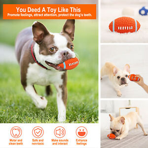 Dog Pet Chew Ball Toy Play Squeaky Latex Dog Soft  Rugby Ball Interactive Safety