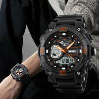 SKMEI Men Waterproof LED Digital Analog Sport Military Dual Display Quartz Watch