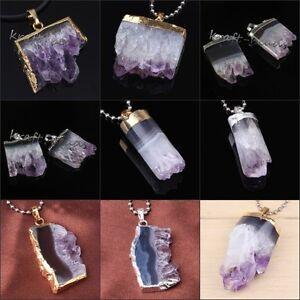 Natural Healing Amethyst Cluster Druzy Crystal Quartz Reiki Random Stone Pendant