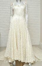 Vintage Cream Lace 1960's Wedding Dress w/ Train Retro Wedding Ball Gown S 4