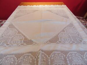 "Beautiful Vintage Crochet Lace & Cotton  Tablecloth  50"" sq"