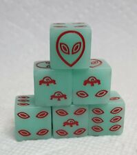 Glowing Alien Dice! 16mm Glow-in-Dark Green w/Red Alien & UFO Pips! Far Out!