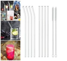 Bent Reusable Glass Drinking Smoothie Straws with Brushes Milkshakes Frozen 8Pcs