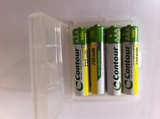 4 x AAA 750 mAh NiMH Contour Rechargeable Batteries in FREE case - Japanese Cell