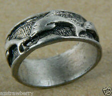 Silver tone Pewter Dolphin ring band sz 6