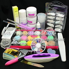 Pro Full Acrylic Liquid Powder Tips Glue Rhinestone Pen Tools Nail Art Kit Set