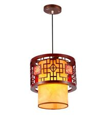 Chinese Yellow Wooden Teahouse Ceiling Pendant Lamp Dining Room Pendant Lights