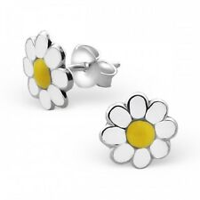 Girls Childrens Sterling Silver White & Yellow Daisy Stud Earrings 8mm - Boxed