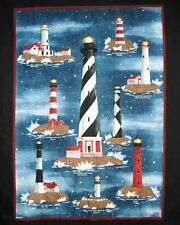 """1 """"Harbor Lights"""" Lighthouse Wallhanging/Lap Quilt Panel  Fabric"""
