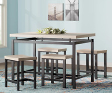 Small Dining Table Set Kitchen of 5 With Stools Compact Reclaimed Natural