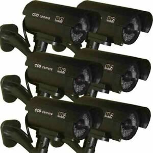 6 x Dummy Security Camera Fake LEDs Flashing Light Home Surveillance Waterproof