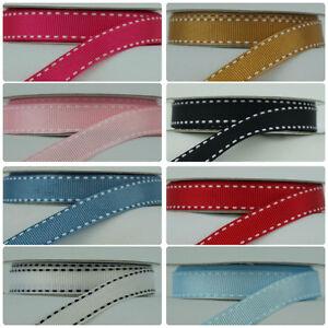 12mm Stitched Edge Grosgrain Ribbon - Various colours (2 Metre Bundle)