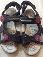 GEOX - sandali da bambina - blu scuro - N° 36 - con velcro - vera pelle -  USATE