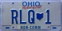 GENUINE Ohio Non-Comm American USA License Licence Number Plate Tag RLQ 1