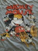 DISNEY MICKEY MOUSE PLAYFUL MISCHIEF T-SHIRT XL GRAY VINTAGE JERRY LEIGH TEE